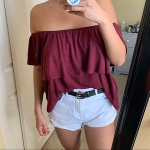 Purple Off the shoulder Ruffle top